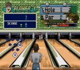 Super Bowling SNES Aim for the remaining pins to clear.