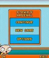 Family Guy: Stewie's Arsenal J2ME Main menu