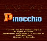 Pinocchio SNES Title screen