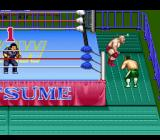 Natsume Championship Wrestling SNES Action outside of the ring