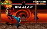 Mortal Kombat II DOS Kung Lao defeats Liu Kang with his high kick
