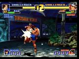 The King of Fighters '99: Millennium Battle PlayStation Joe gives Mai a knee to the chest