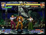 The King of Fighters '99: Millennium Battle PlayStation Double team time! Shingo summons his striker Kasumi to perform an attack on King.