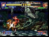 The King of Fighters '99: Millennium Battle PlayStation Shingo's not feeling too good after a swift kick from Athena