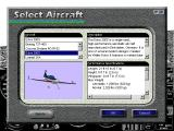 Microsoft Flight Simulator for Windows 95 Windows Aircraft selection screen. The Boeing 737 and Extra 300S are new in this release.