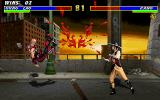 Mortal Kombat 3 DOS Kano's blood spills everywhere after taking a hit from Kung Lao