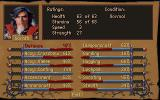 "Betrayal at Krondor DOS Character Statistics - Here portraying Gorath, the Elven warlord. Statistics increase automatically, indicated by a ""red text"" replacing the normal text."