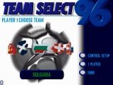UEFA Euro 96 England DOS Team selection screen