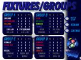UEFA Euro 96 England DOS Fixtures/Groups screen
