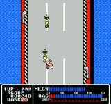 Rally Bike NES Crashing into an opponent.