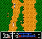 Rally Bike NES Racing through a forest area.