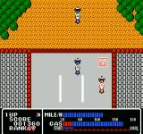 Rally Bike NES The player can fill up with gas at that gas station icon.