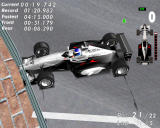 F1 World Grand Prix Windows McLaren crashed into wall. Since damage is off, the race continues.