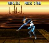 Killer Instinct SNES Practice mode allows you to learn the special moves. Here, Jago tries his flying kick on Glacius