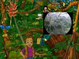 Scholastic's The Magic School Bus Explores the Rainforest Windows The video tool from the toolbox shows rain falling in the forest.
