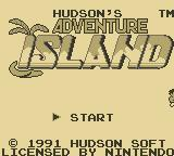 Adventure Island II Game Boy Title Screen