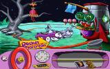 Putt-Putt Goes to the Moon DOS This two-headed alien offers Putt-Putt the rocketship in exchange for 10 crystals.