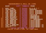 Silent Service Atari 8-bit Submariner's Hall of Fame