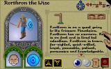 Lords of Midnight DOS The character settings screen
