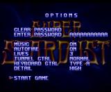 Super Stardust Amiga Start game, options & password entering are located on the same screen.