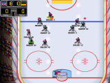 Hard Hittin' Hockey Windows Defense vice game play. The AI changes formation to match the player's skills.