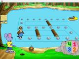 Reader Rabbit's Kindergarten Windows Number Lumber is a simple Chutes-and-Ladders strategy game