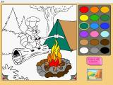 Reader Rabbit's Kindergarten Windows Outside the bear cave there is a basic coloring game, featuring camping scenes
