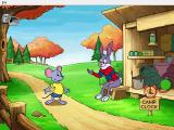 Reader Rabbit's Kindergarten Windows Reader Rabbit greets Mat at his supply hut. The clock icon o the bottom right takes the player to...