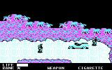 Metal Gear DOS There are numerous guards you fight or sneak past (CGA)
