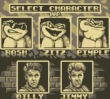 Battletoads & Double Dragon: The Ultimate Team Game Boy Character Selection