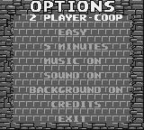 BreakThru! Game Boy Options screen