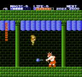 Zelda II: The Adventure of Link NES His attacks are easy to avoid if you use the jump spell before the fight.