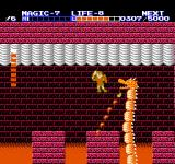 Zelda II: The Adventure of Link NES The fire-spitting dragon in the sixth temple. If you get hit, it's easy to get pushed into the lava.