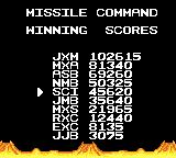 Arcade Classics Game Gear Missile Command high scores (Classic)