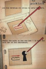 Undercover: Dual Motives Nintendo DS You should pick the lock as shown on this instruction during mini-game.