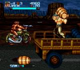 "Iron Commando: Kotetsu no Senshi SNES The truck end boss, <moby game=""Donkey Kong"">Donkey Kong</moby>-style barrel throwing"