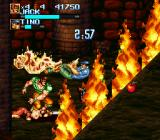 Iron Commando: Kotetsu no Senshi SNES The Temple, Inca traps include spikes and fire.