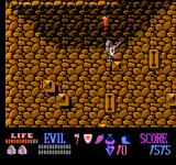 Wizards & Warriors NES Trying to jump on disappearing platforms.