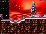 "First level of ""Holiday Hare '98"", named ""Snow bunnies"". Xmas version of turtle is also visible."
