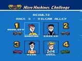 Micro Machines NES The outcome of a race