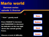Mario World: Overrun Browser Main game screen with four difficulty levels.