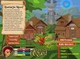 AdventureQuest Browser Your starting town -- Battleon, featuring everything the prospective adventurer needs to get started.