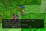 Dark Savior SEGA Saturn Parallel I ~ Mining area: The liquid nitrogen will instantly kill any living creature. But who is possessed by Bilan: the Warden or Lance? (Lance is further up the stairs, hence not on the screenshot)