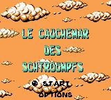 The Smurfs' Nightmare Game Boy Color Title and main menu (French)