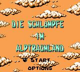 The Smurfs' Nightmare Game Boy Color Title and main menu (German)