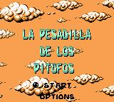 The Smurfs' Nightmare Game Boy Color Title and main menu (Spanish)