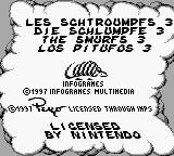 The Smurfs' Nightmare Game Boy Title screen and copyright information