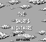 The Smurfs' Nightmare Game Boy Title and main menu (English)