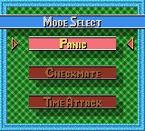 Ballistic Game Boy Color Select 'Panic', 'Checkmate' or 'Time Attack'.
