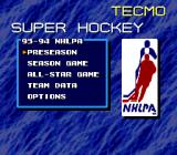 Tecmo Super Hockey Genesis Main menu